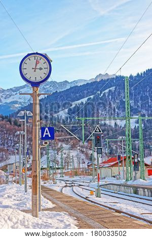 Railway train station at Garmisch-Partenkirchen Germany in winter.