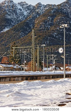 Railway train station in Garmisch-Partenkirchen Germany in winter.