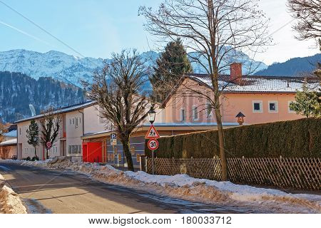 Street And Alps Winter Garmisch Partenkirchen
