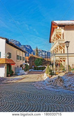 Street In Bavarian Style With Alps At Winter Garmisch Partenkirchen