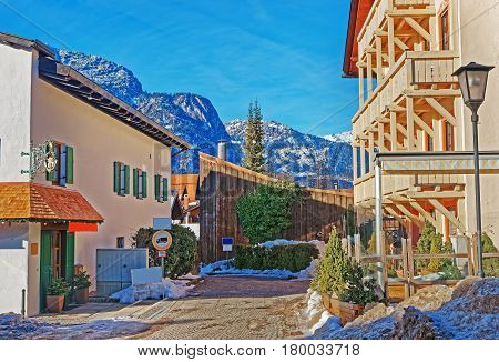 Street In Bavarian Style With Alps In Winter Garmisch Partenkirchen