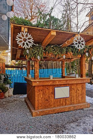 Wooden Market Stall In Decorated For Christmas In Garmisch Partenkirchen