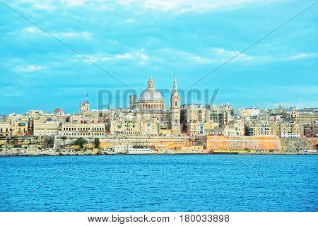 Valletta Skyline With Saint Paul Cathedral And Bastions Malta