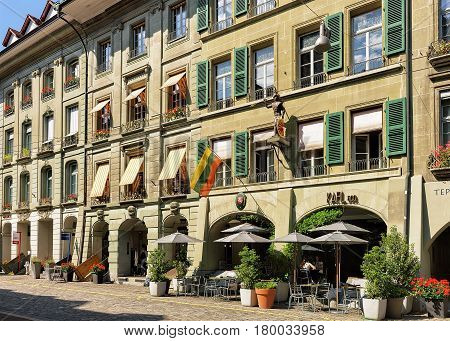 Cafe At Kramgasse Street With Shopping Area In Bern