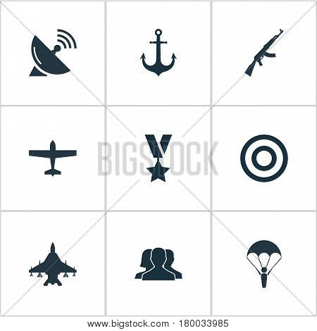 Vector Illustration Set Of Simple Army Icons. Elements Target, Outcast, Ship Hook And Other Synonyms Order, Scope And Ak47.