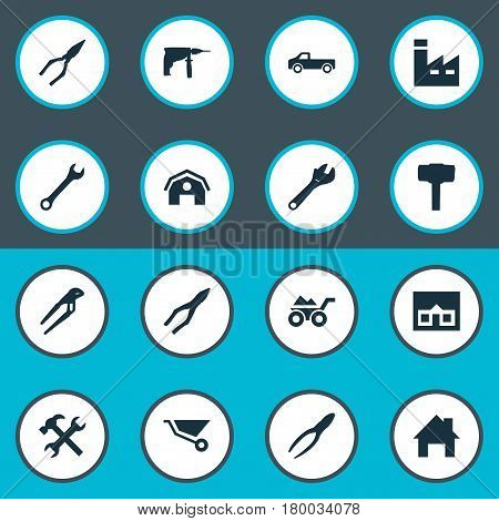 Vector Illustration Set Of Simple Axe Icons. Elements Electric Screwdriver, Cart, Spanner And Other Synonyms Carpentry, Hammer And Property.