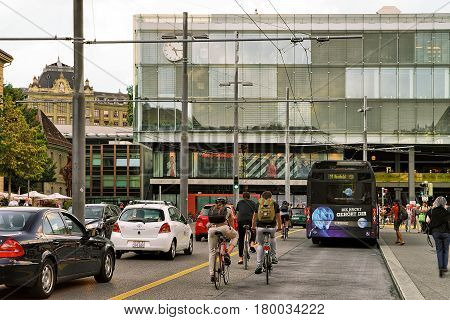 People Bicycle And Bus At Train Station In Bahnhofplatz Bern
