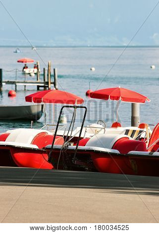 Catamarans On Lake Geneva In Lausanne Switzerland