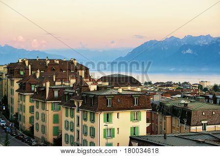 Chemin De Mornex And Alps In Lausanne At Sunset