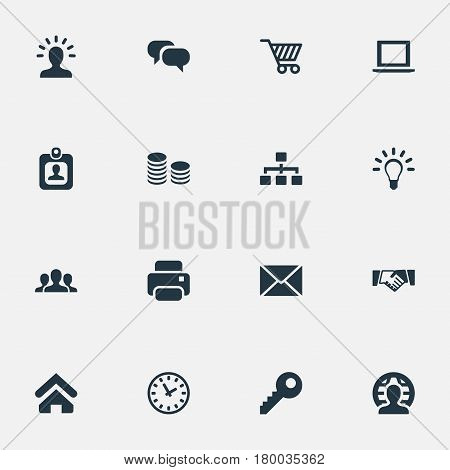 Vector Illustration Set Of Simple Commerce Icons. Elements Bulb, Printing Machine, Relationship And Other Synonyms User, Net And Conversation.