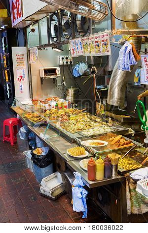 Hong Kong Hong Kong - March 10 2017: cook shop in Kowloon Hong Kong. Hong Kong is one of worlds most significant financial centres 4th most densely populated state