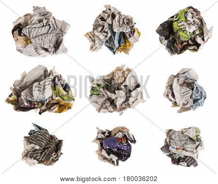 collection of lump and crumpled newspaper isolated on white background. newspaper in this set is thai newspaper