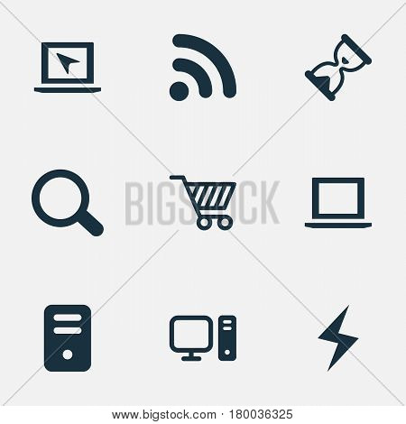 Vector Illustration Set Of Simple Laptop Icons. Elements Computer, Cursor, System Unit And Other Synonyms Wireless, Charge And Unit.