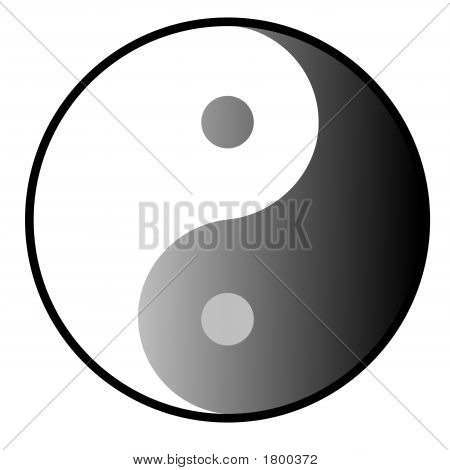 Yin Yang symbol which describe two primal opposing but complementary principles or cosmic forces poster