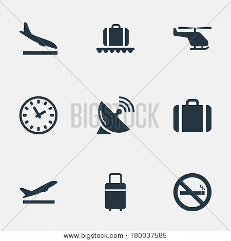 Vector Illustration Set Of Simple Travel Icons. Elements Cigarette Forbidden, Travel Bag, Alighting Plane And Other Synonyms Conveyor, Case And Stop.