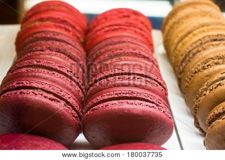 Sweet Colorful French Macaron Or Macaroons Dessert On Plate Close Up Background