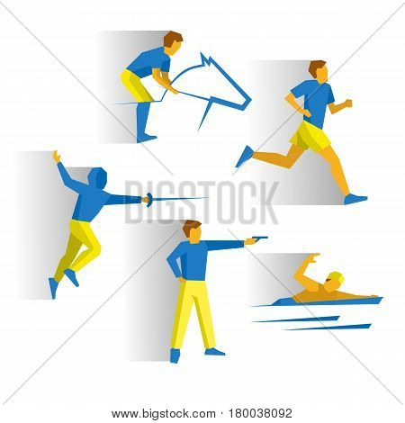 Modern Pentathlon - fencing, shooting, equestrian, marathon, swimming. Athletes isolated on white background with shadows. Track-and-field athletics infographic. Simple flat style vector clip art.