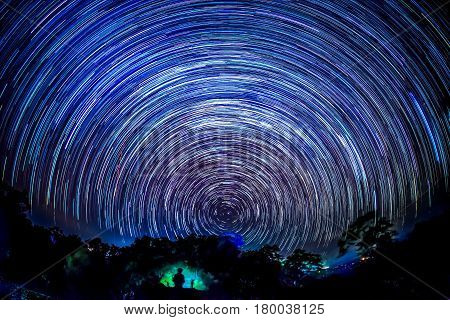 Star trails over national park in northern of Thailand.