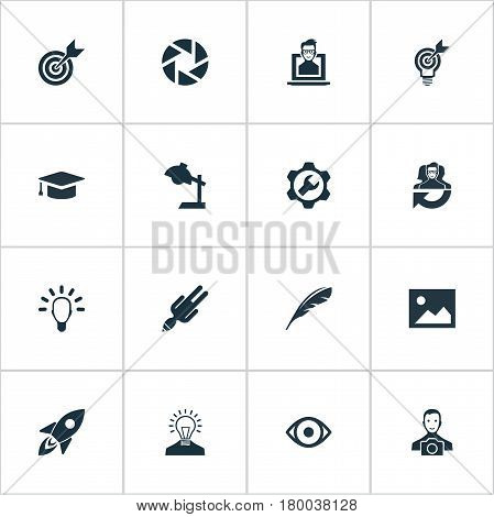 Vector Illustration Set Of Simple Creative Thinking Icons. Elements Cameraman, Apathy, Rocket And Other Synonyms Young, Darts And Reading.