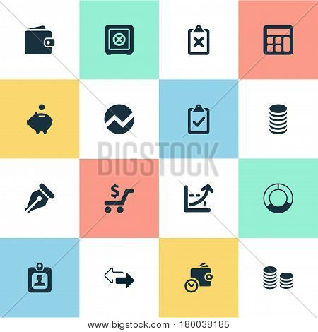 Vector Illustration Set Of Simple Finance Icons. Elements Wallet, Billfold, Earnings And Other Synonyms Clipboard, Two And Supervision.