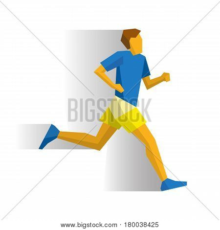 Marathon runner. Athlete isolated on white background with shadows. Track-and-field athletics infographic. Running flat style vector clip art.