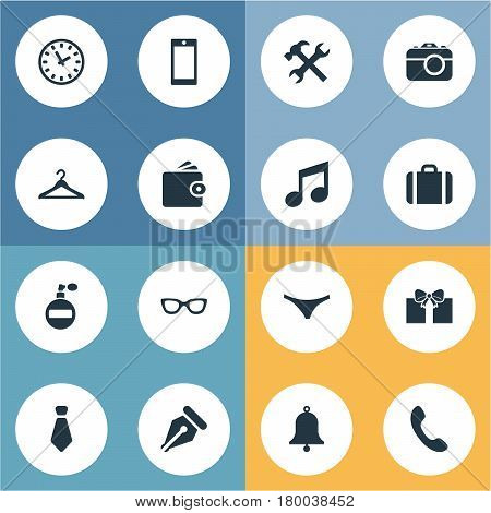 Vector Illustration Set Of Simple  Icons. Elements Repair, Cravat, Ring And Other Synonyms Work, Case And Tool.