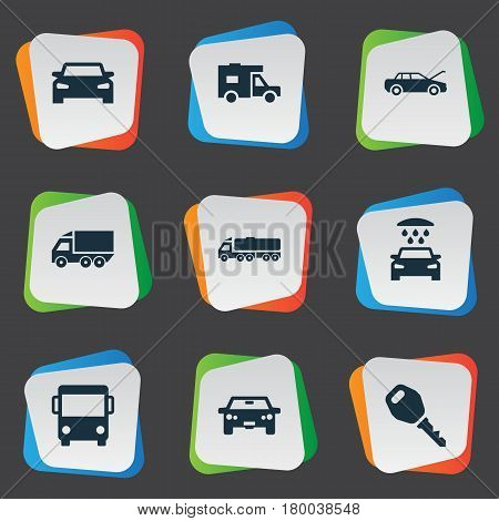 Vector Illustration Set Of Simple Automobile Icons. Elements Shipment, Van, Carriage And Other Synonyms Van, Shipping And Shipment.