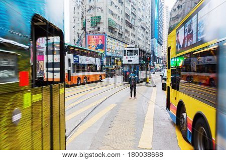 Busy Traffic On Kings Road In Hong Kong
