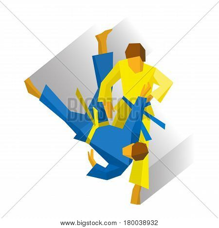 Two judo fighters isolated on white background with shadows. Martial arts competition - judo, karate, sambo, wrestling, taekwondo. International sport games infographic. Flat style vector clip art.