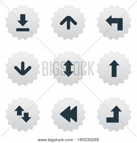 Vector Illustration Set Of Simple Pointer Icons. Elements Increasing, Down Up, Downwards Pointing And Other Synonyms Falling, Upward And Left.