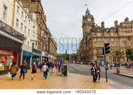 Street Scene On Princes Street In Edinburgh