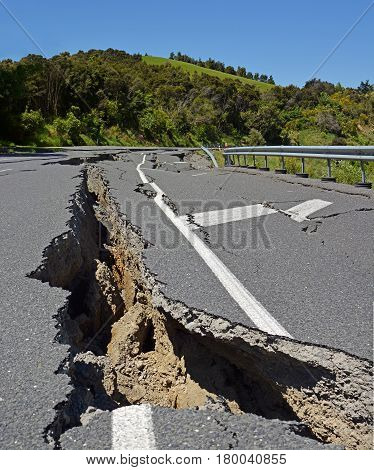 Massive Road Cracks appear in The Hunderlee Hills on Highway One North Canterbury during the huge 2016 Kaikoura Earthquake in New Zealand. The earthquake measured 7.8 on the Richter scale and moved the whole South Island several metres north.