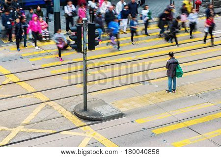 Aerial View Of A Pedestrian Crossing In Hong Kong Central
