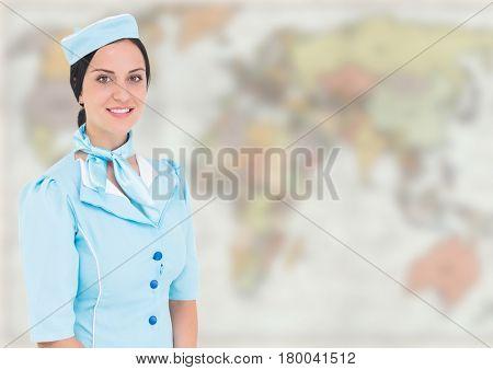 Digital composite of Stewardess against blurry map