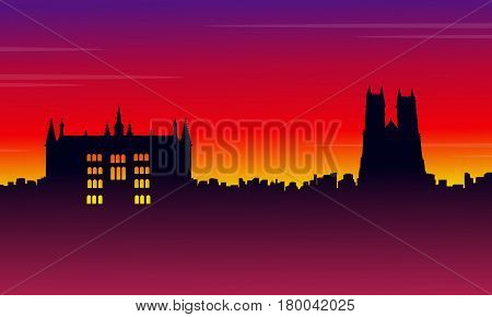 Silhouette London city on red background scenery illustration