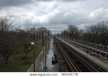 Chicago Transit Elevated Train tracks railroad above ground