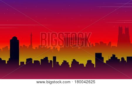Scenery London city building silhouettes vector illustration
