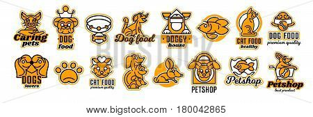 Set of logos on the theme of animals. Shop for pets, food. Cat, dog, rabbit, fish in the aquarium, collar, bone, bowl, kennel, bag, supermarket trolley, crown. Vector illustration, line style