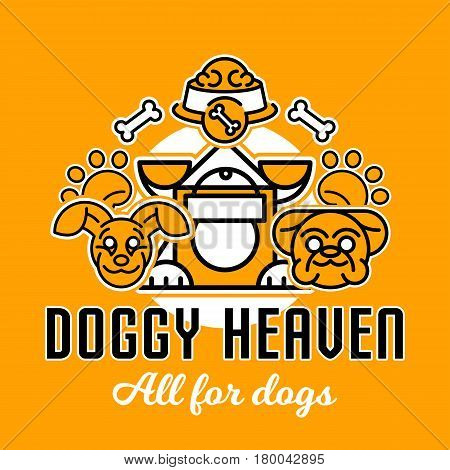 Vector illustration on the theme of dogs. Heads of dogs made in a line style. Kennel for the dog, food bowl, bone, paw trail. Flat style