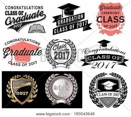 Graduation vector set Class of 2017 Congrats grad Congratulations Graduate
