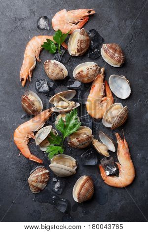 Fresh seafood on stone table. Scallops and shrimps. Top view