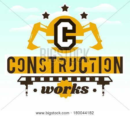 Illustration on the theme of the construction works. Construction machinery. Special equipment. Lettering on the isolated background. Logo special equipment, hydraulic arm. Excavator, crane.