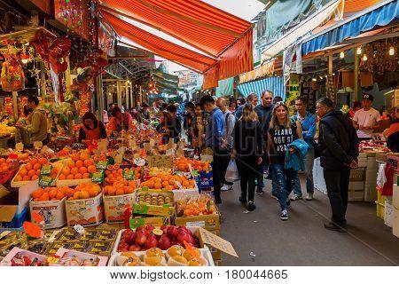 Market Street In Kowloon, Hong Kong