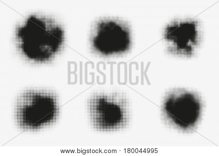 Set of abstract vector halftone stains. Black blots made of round particles. Modern illustration with dark murky spots. Splattered array of dots. Gradation of tone. Elements of design.