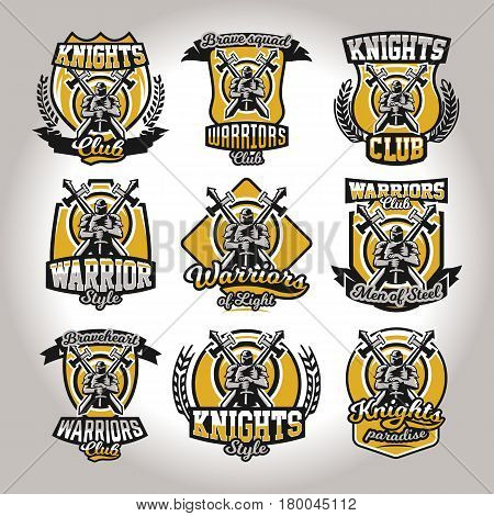 Set of colorful logos, emblems of a knight on a background of two cross swords, used different fonts and shields. The theme knights, barbarians, warriors, swordsmen, kingdoms. Vector illustration