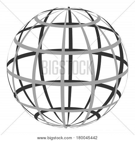 Hollow sphere with a coordinate grid of parallel and Meridian, the vector of the globe planet earth