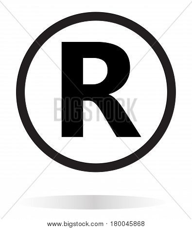 registered trademark icon on white background. registered trademark symbol.