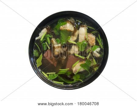 'Tom Lued Moo' Thai Style Blood Jelly with Offal Soup isolated on white background.