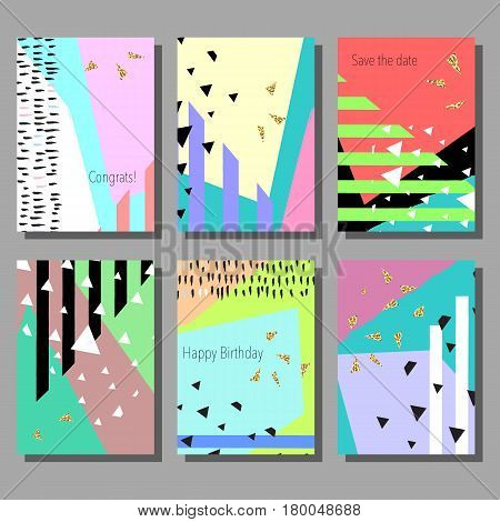 Set of artistic colorful universal cards. Design for poster, card, invitation.