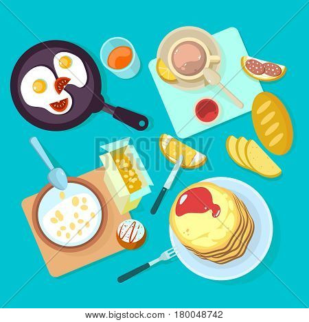 Fresh healthy breakfast food and drinks top view. Egg and sandwich cereal bread and butter milk flat vector illustration isolated on blue backgraund